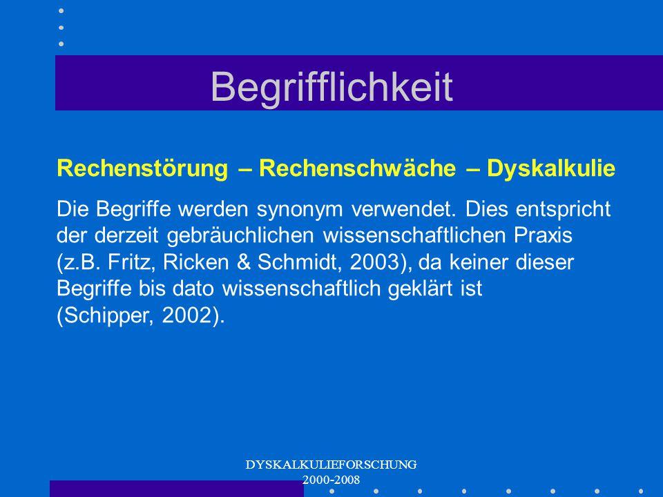 DYSKALKULIEFORSCHUNG 2000-2008