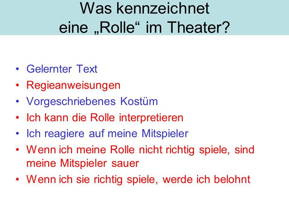 """Was kennzeichnet eine """"Rolle im Theater"""