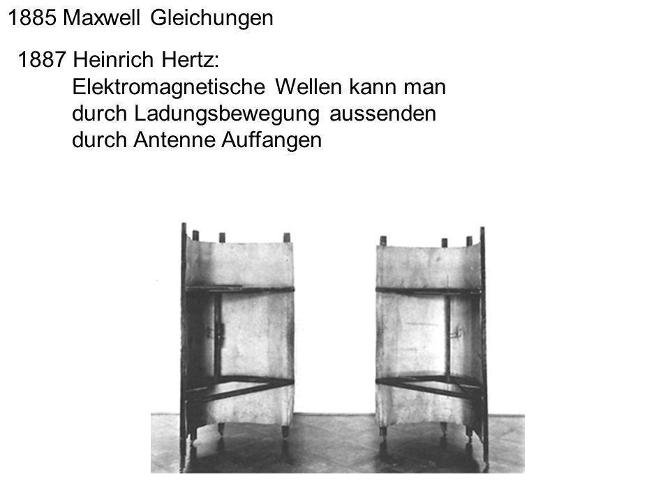 1885 Maxwell Gleichungen 1887 Heinrich Hertz: Elektromagnetische Wellen kann man. durch Ladungsbewegung aussenden.