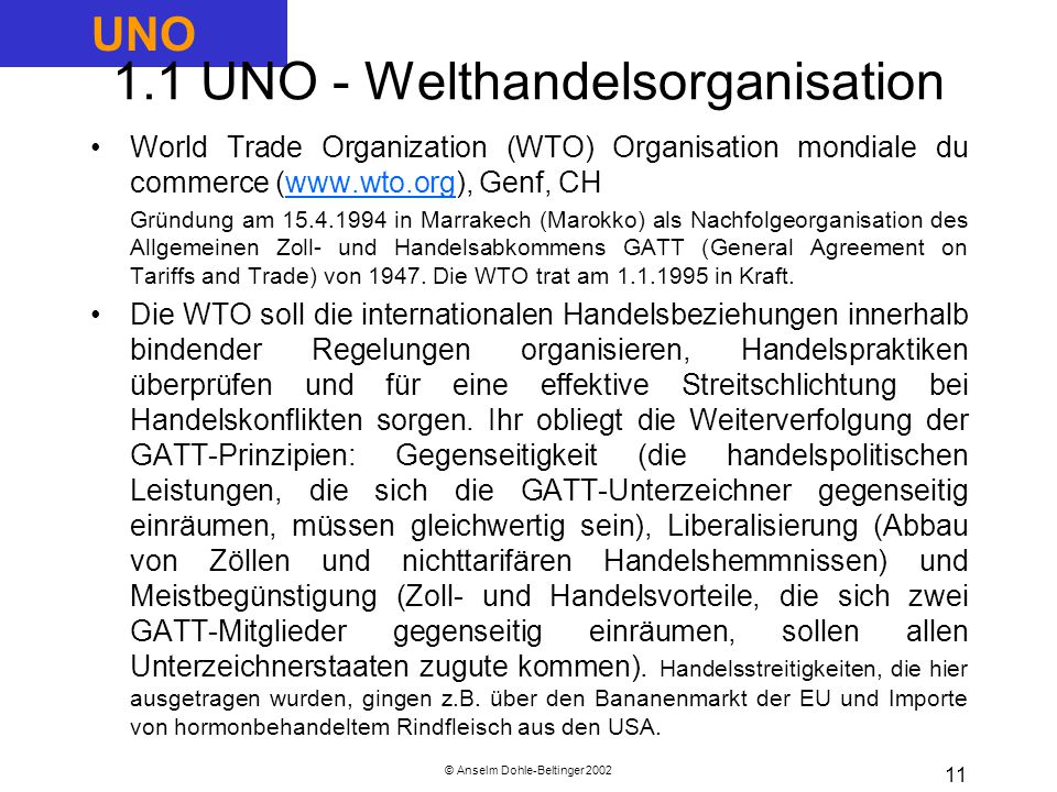 1.1 UNO - Welthandelsorganisation