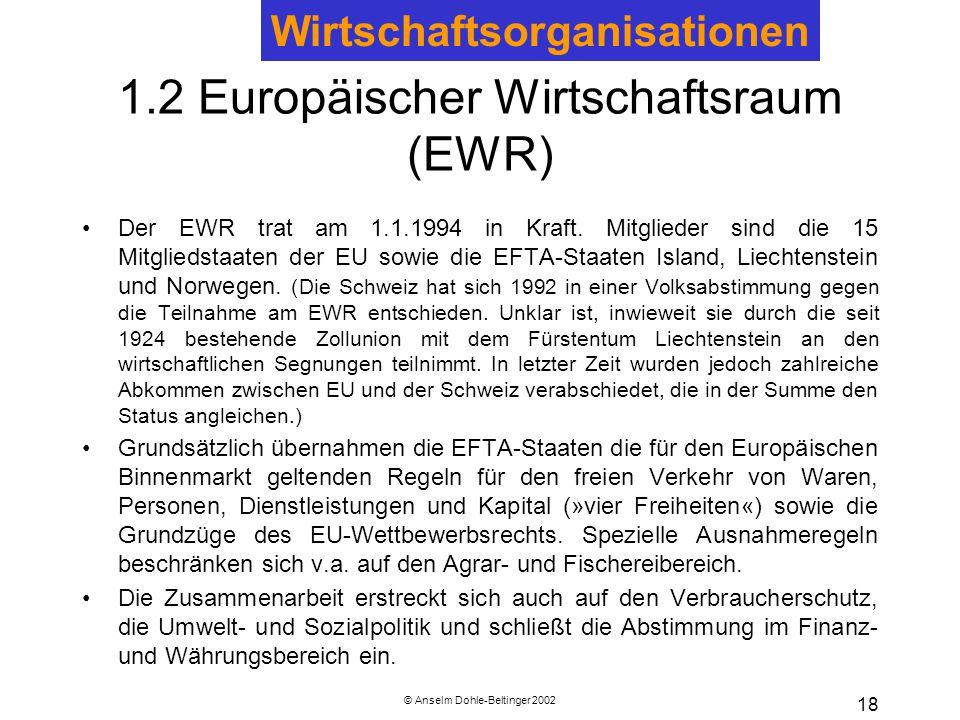 1.2 Europäischer Wirtschaftsraum (EWR)