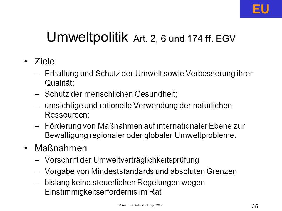 Umweltpolitik Art. 2, 6 und 174 ff. EGV