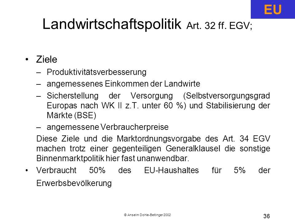 Landwirtschaftspolitik Art. 32 ff. EGV;