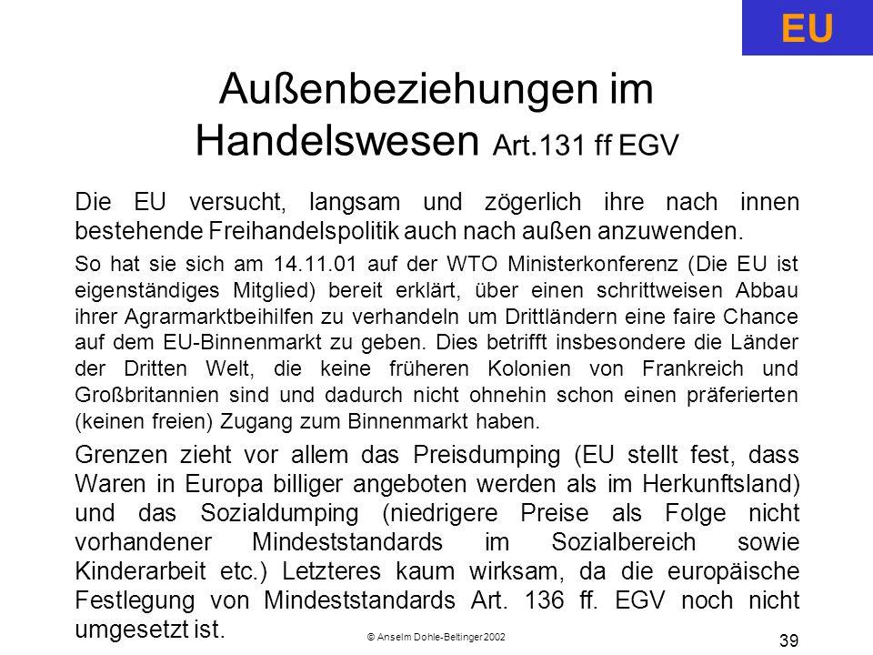 Außenbeziehungen im Handelswesen Art.131 ff EGV