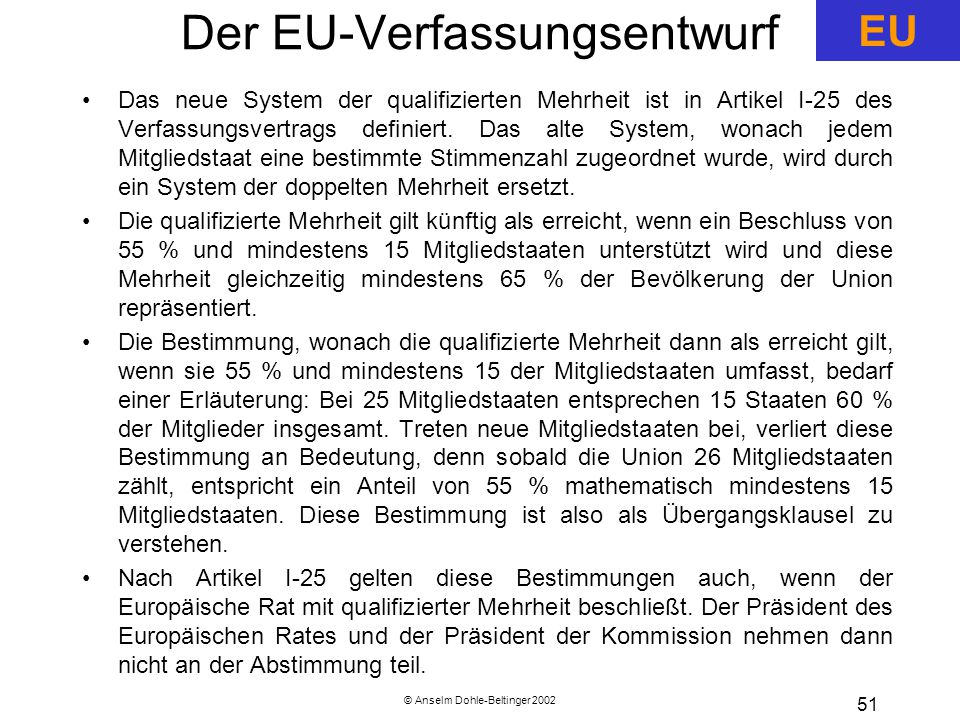 Der EU-Verfassungsentwurf