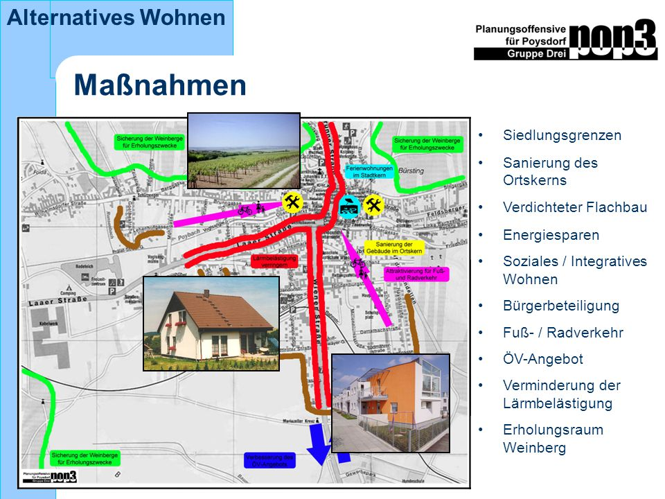 Maßnahmen Siedlungsgrenzen Sanierung des Ortskerns