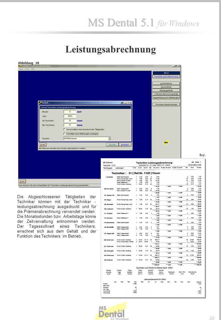 Leistungsabrechnung Abbildung 18. Bsp.