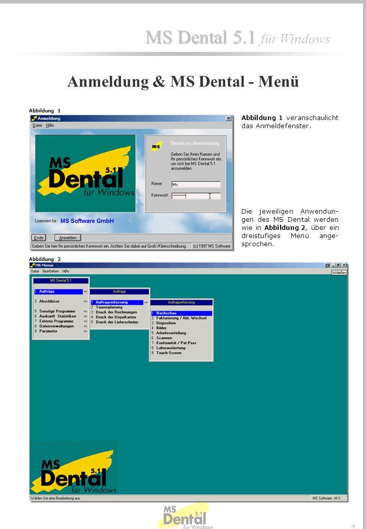 Anmeldung & MS Dental - Menü