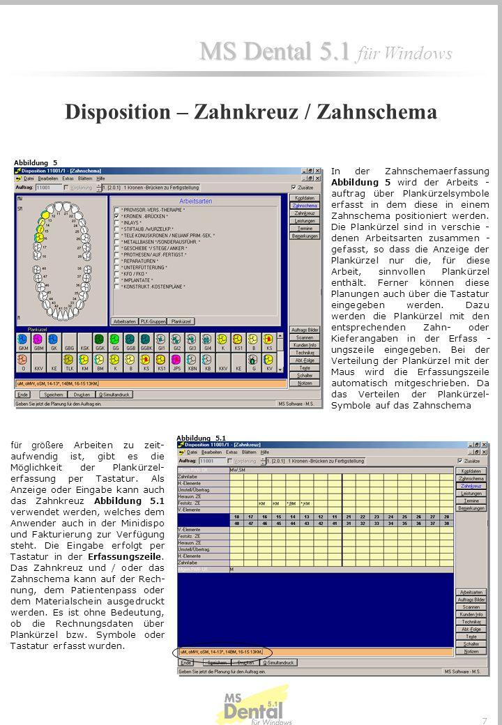 Disposition – Zahnkreuz / Zahnschema