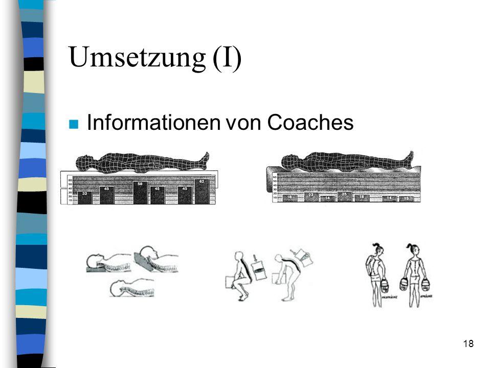Umsetzung (I) Informationen von Coaches