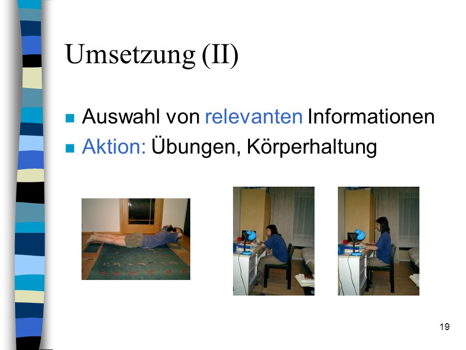 Umsetzung (II) Auswahl von relevanten Informationen