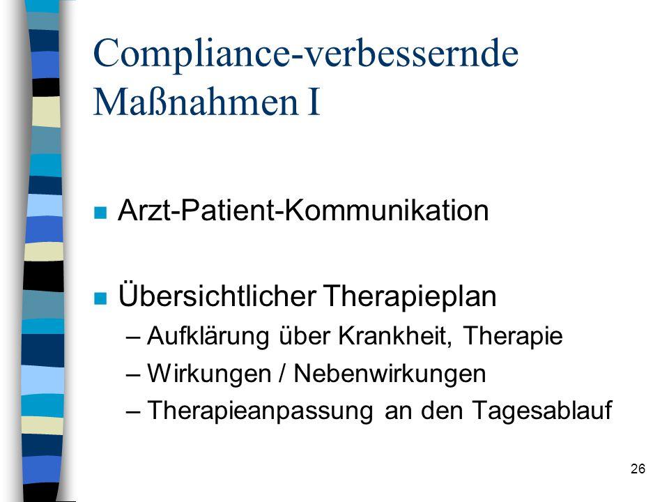Compliance-verbessernde Maßnahmen I