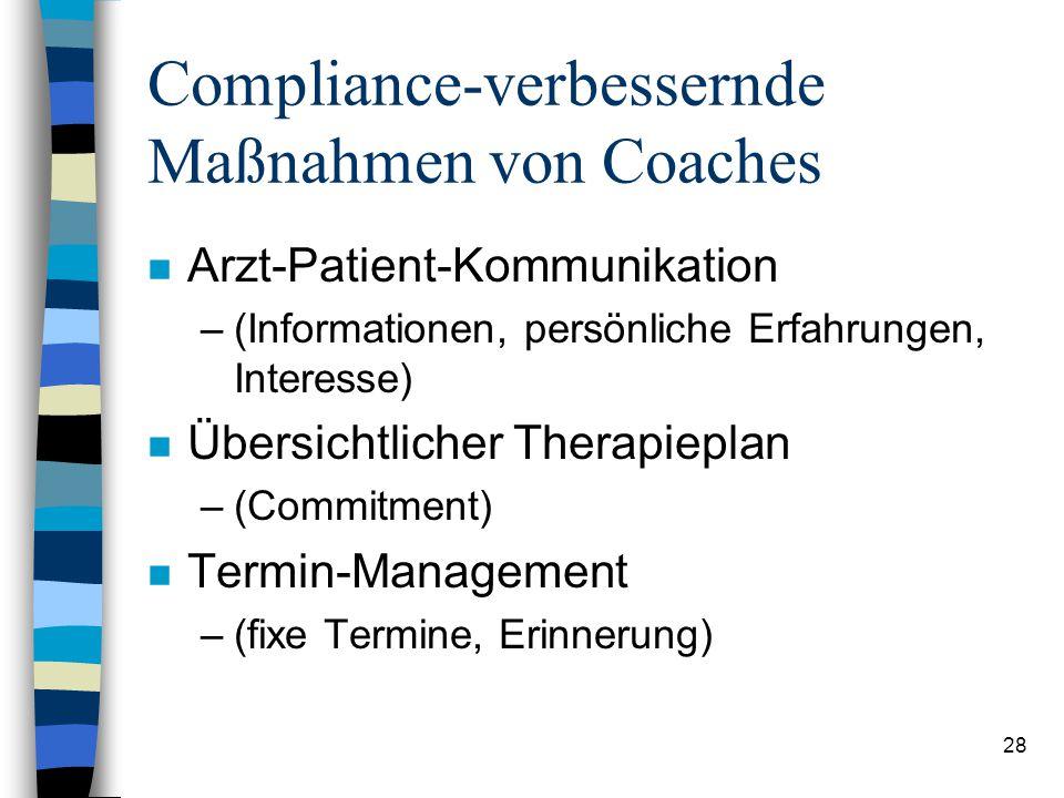 Compliance-verbessernde Maßnahmen von Coaches
