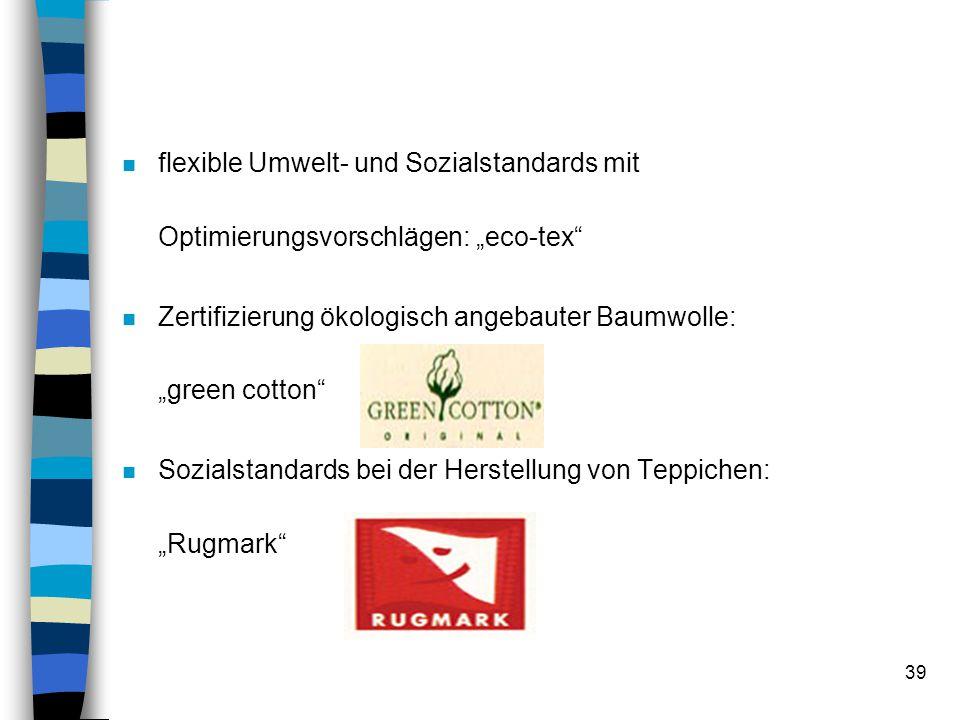 """flexible Umwelt- und Sozialstandards mit Optimierungsvorschlägen: """"eco-tex"""