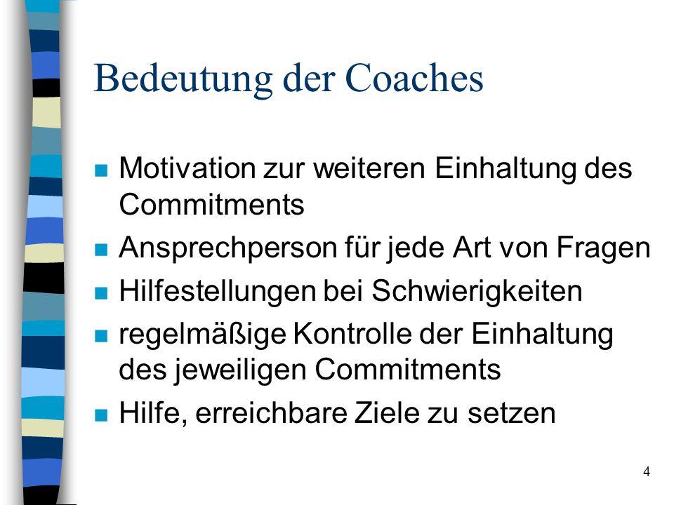 Bedeutung der Coaches Motivation zur weiteren Einhaltung des Commitments. Ansprechperson für jede Art von Fragen.