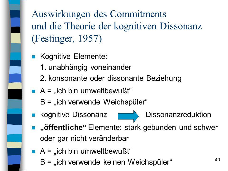 Auswirkungen des Commitments und die Theorie der kognitiven Dissonanz (Festinger, 1957)