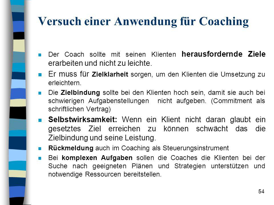Versuch einer Anwendung für Coaching