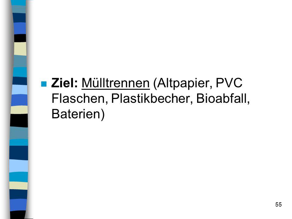 Ziel: Mülltrennen (Altpapier, PVC Flaschen, Plastikbecher, Bioabfall, Baterien)