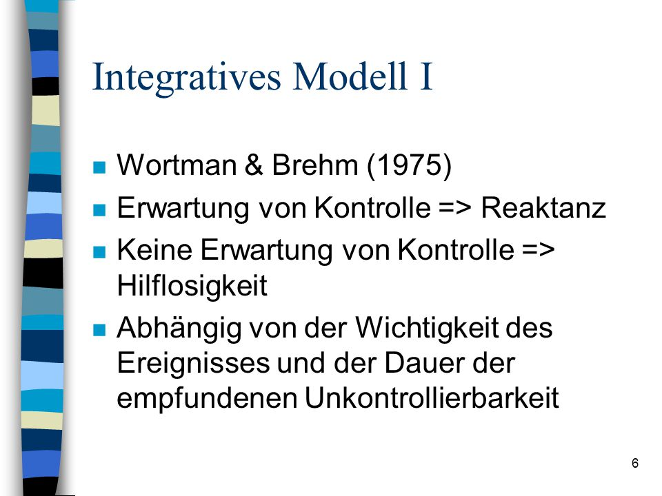 Integratives Modell I Wortman & Brehm (1975)
