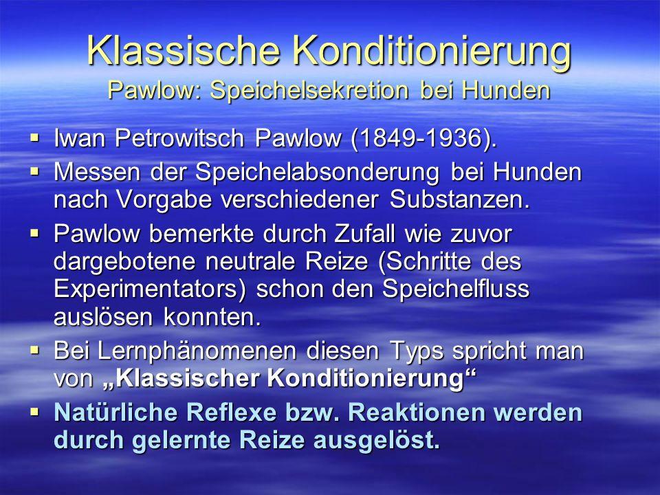 Klassische Konditionierung Pawlow: Speichelsekretion bei Hunden