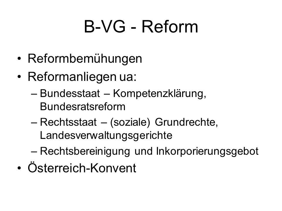B-VG - Reform Reformbemühungen Reformanliegen ua: Österreich-Konvent
