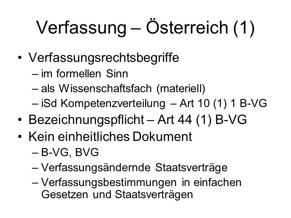 Verfassung – Österreich (1)