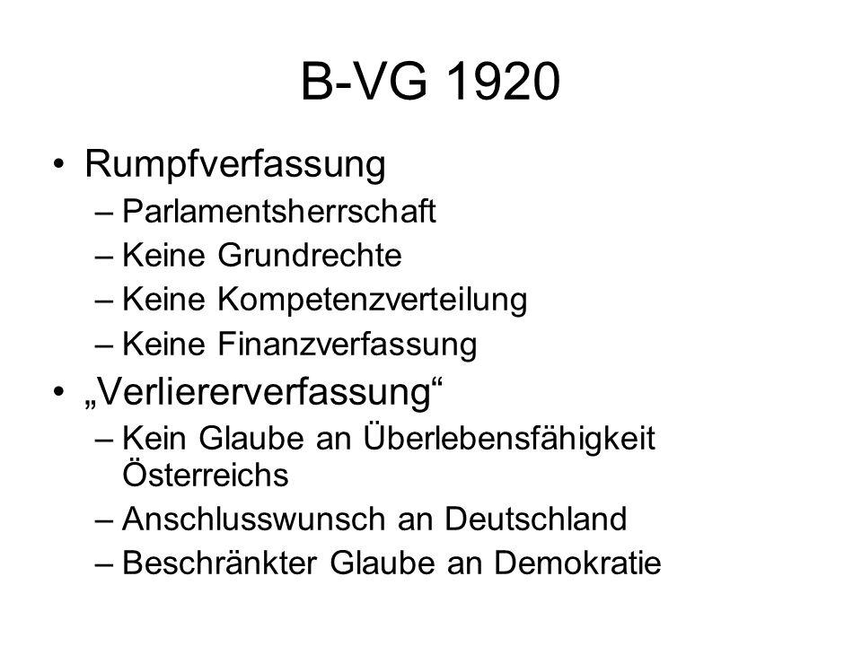 """B-VG 1920 Rumpfverfassung """"Verliererverfassung Parlamentsherrschaft"""