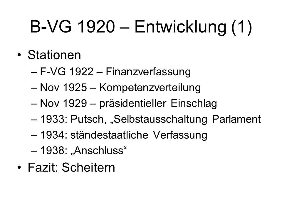 B-VG 1920 – Entwicklung (1) Stationen Fazit: Scheitern