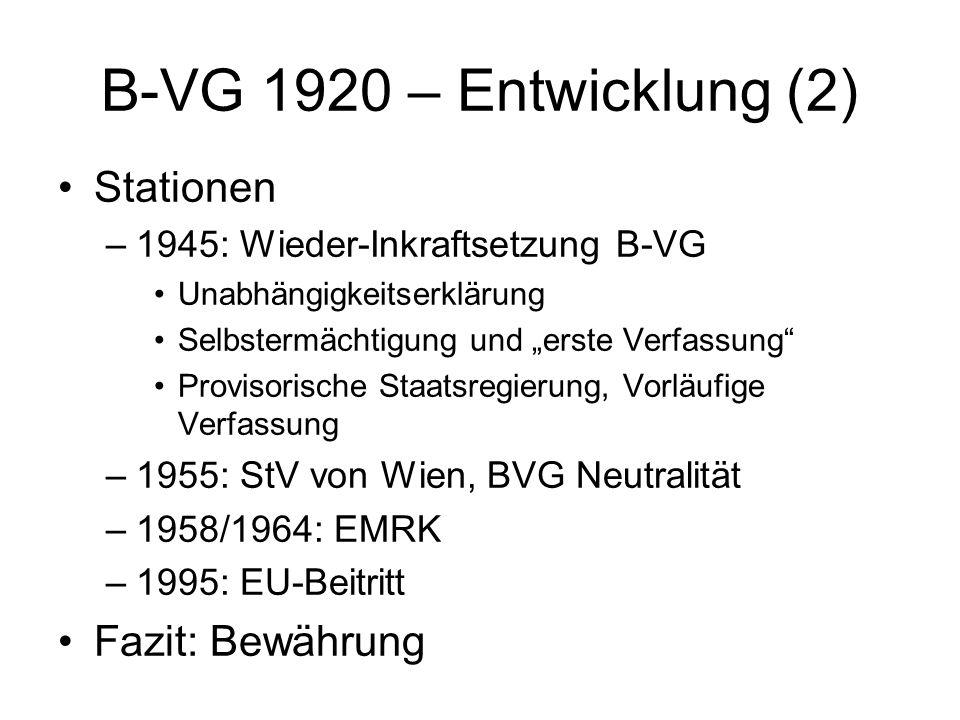 B-VG 1920 – Entwicklung (2) Stationen Fazit: Bewährung