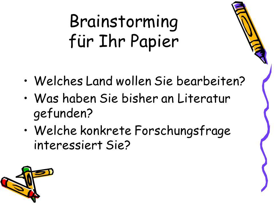 Brainstorming für Ihr Papier