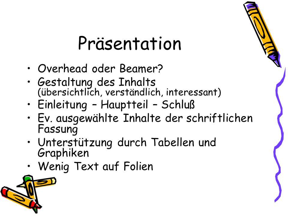 Präsentation Overhead oder Beamer