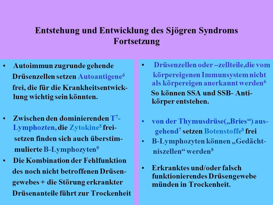 Entstehung und Entwicklung des Sjögren Syndroms Fortsetzung