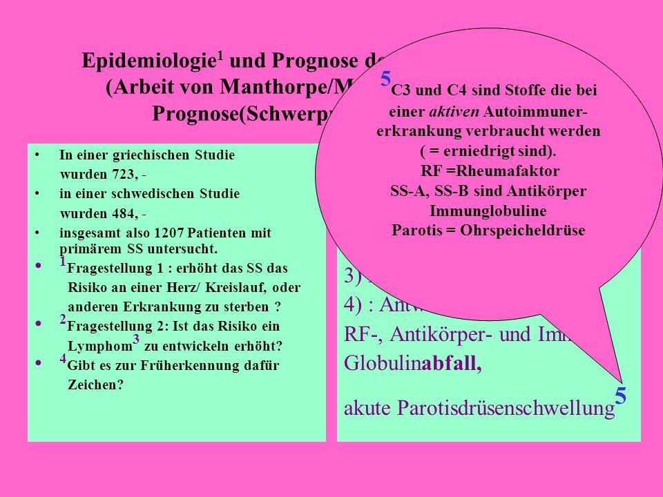 SS-A, SS-B sind Antikörper Parotis = Ohrspeicheldrüse