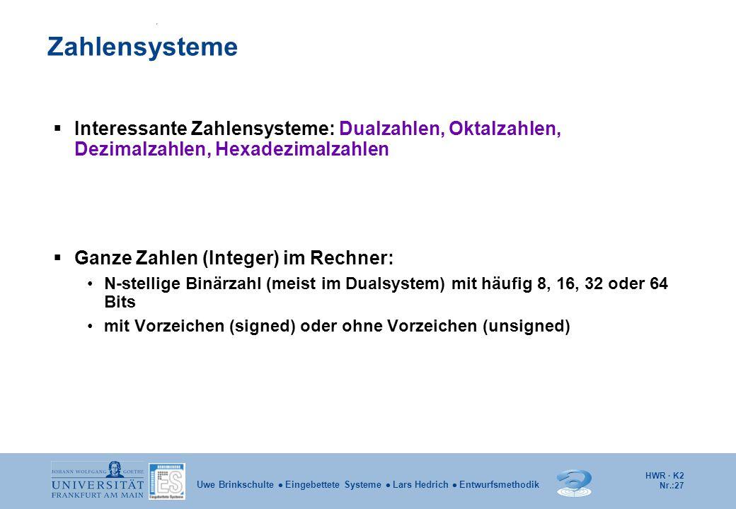 Zahlensysteme Interessante Zahlensysteme: Dualzahlen, Oktalzahlen, Dezimalzahlen, Hexadezimalzahlen.