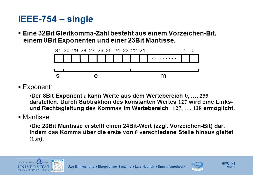 IEEE-754 – single Eine 32Bit Gleitkomma-Zahl besteht aus einem Vorzeichen-Bit, einem 8Bit Exponenten und einer 23Bit Mantisse.