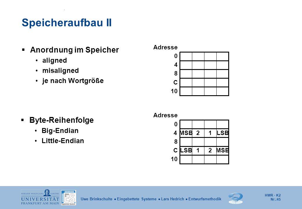 Speicheraufbau II Anordnung im Speicher Byte-Reihenfolge aligned