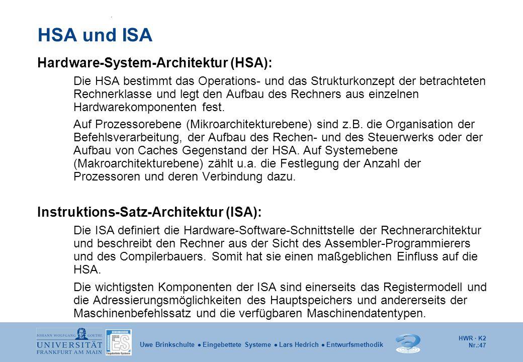 HSA und ISA Hardware-System-Architektur (HSA):