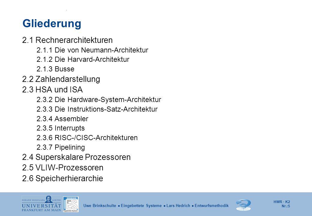 Gliederung 2.1 Rechnerarchitekturen 2.2 Zahlendarstellung