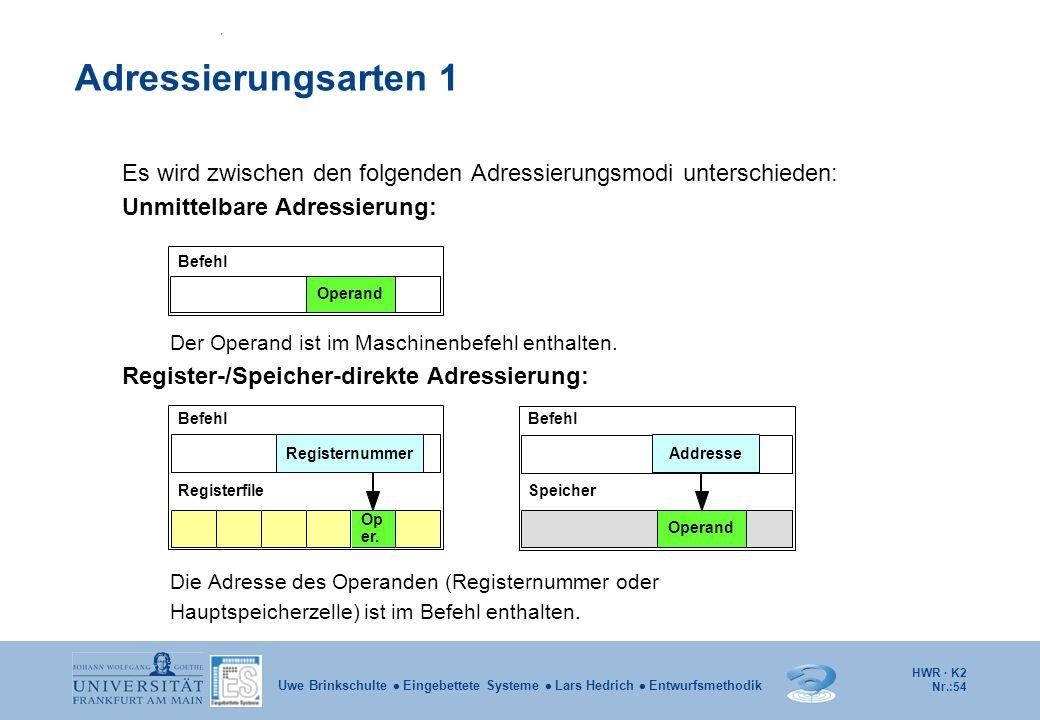 Adressierungsarten 1 Es wird zwischen den folgenden Adressierungsmodi unterschieden: Unmittelbare Adressierung: