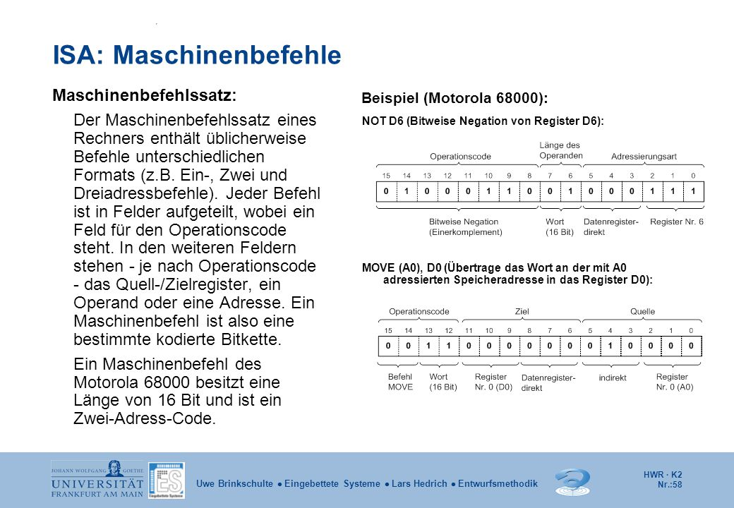 ISA: Maschinenbefehle