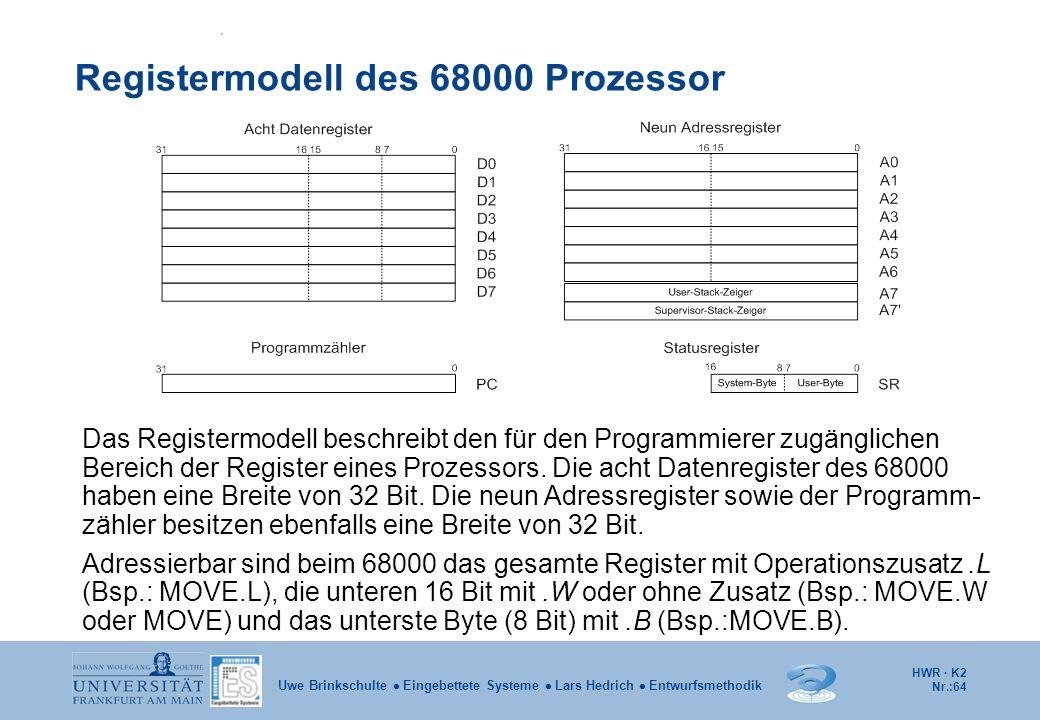 Registermodell des 68000 Prozessor