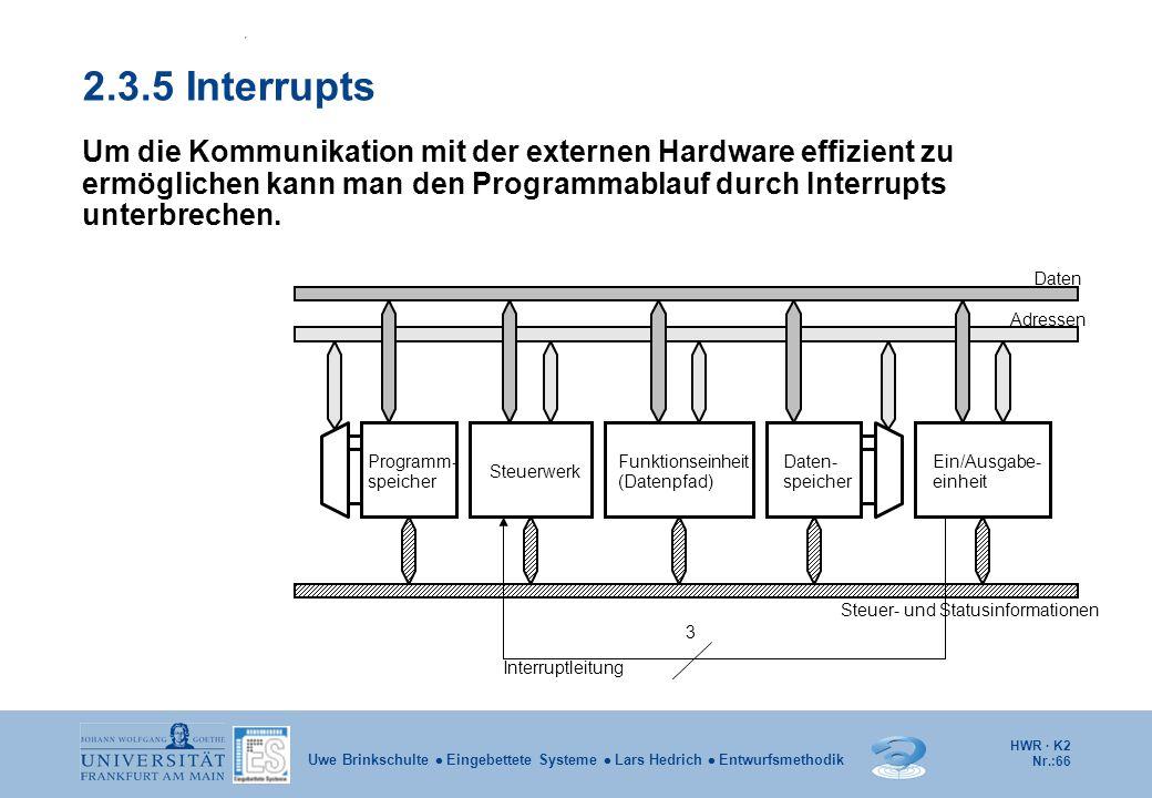 2.3.5 Interrupts Um die Kommunikation mit der externen Hardware effizient zu ermöglichen kann man den Programmablauf durch Interrupts unterbrechen.