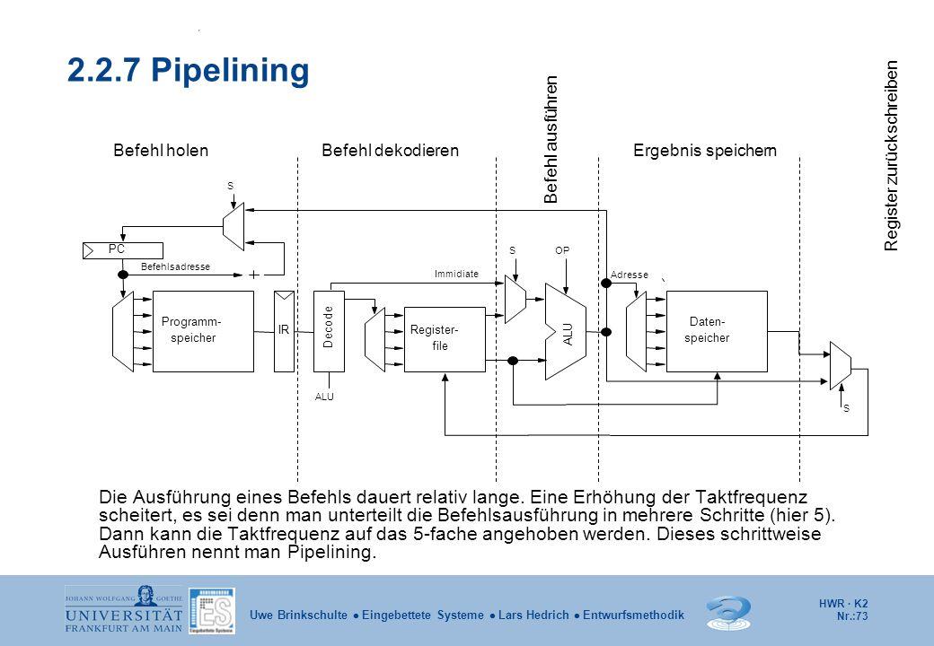 2.2.7 Pipelining Befehl ausführen. Register zurückschreiben. Befehl holen. Befehl dekodieren. Ergebnis speichern.