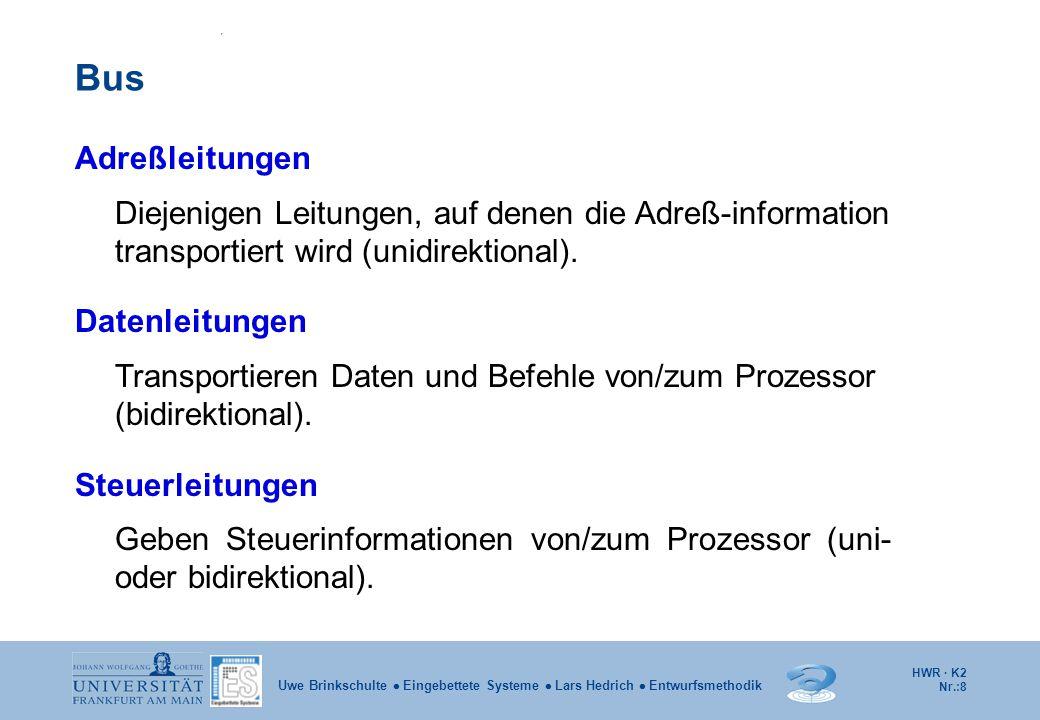 Bus Adreßleitungen. Diejenigen Leitungen, auf denen die Adreß-information transportiert wird (unidirektional).