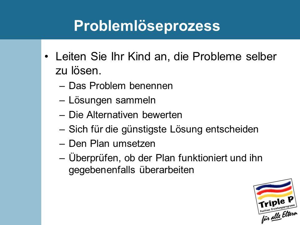 Problemlöseprozess Leiten Sie Ihr Kind an, die Probleme selber zu lösen. Das Problem benennen. Lösungen sammeln.