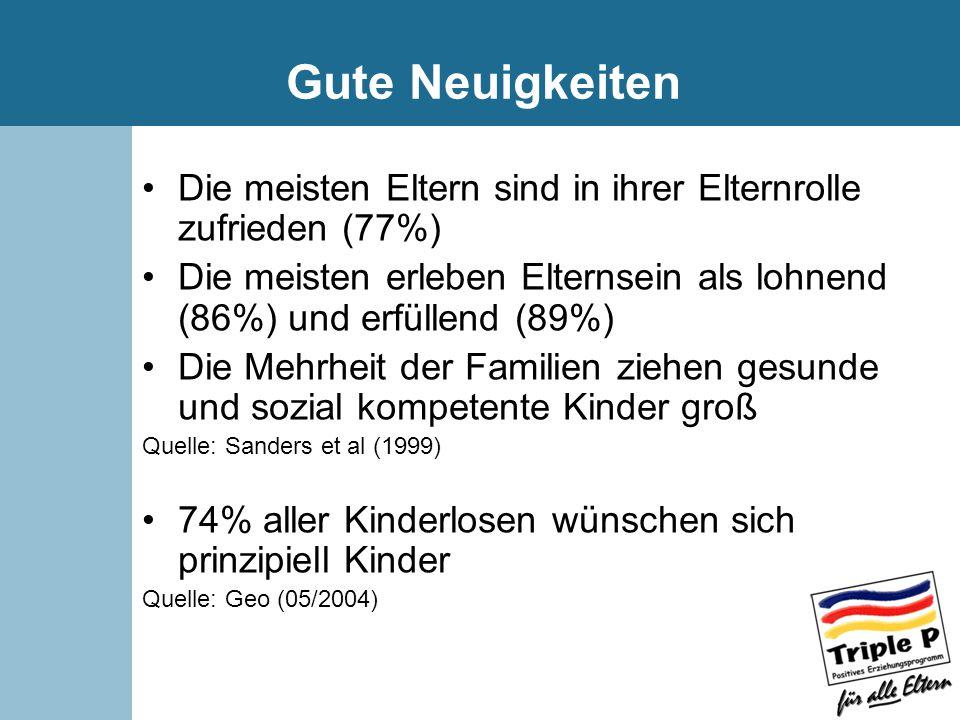 Gute Neuigkeiten Die meisten Eltern sind in ihrer Elternrolle zufrieden (77%) Die meisten erleben Elternsein als lohnend (86%) und erfüllend (89%)