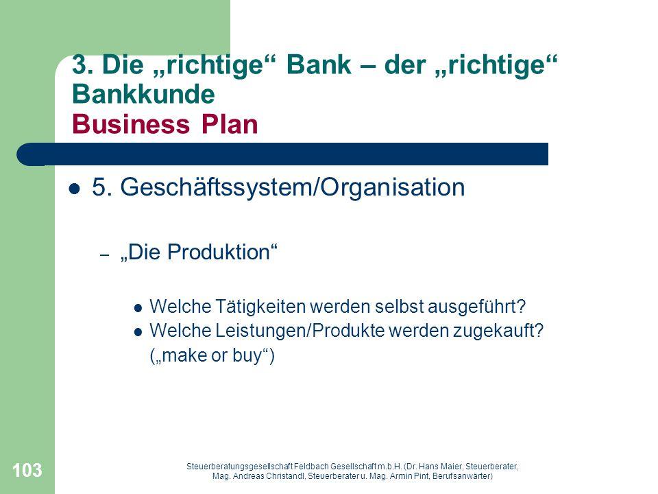 """3. Die """"richtige Bank – der """"richtige Bankkunde Business Plan"""