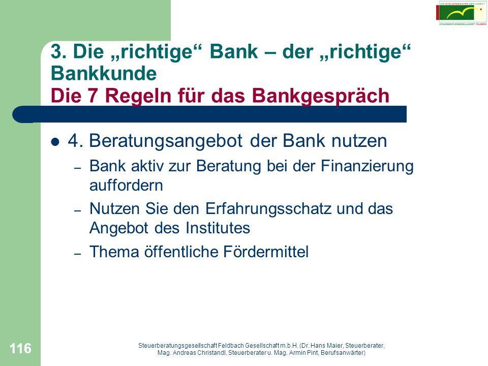 """3. Die """"richtige Bank – der """"richtige Bankkunde Die 7 Regeln für das Bankgespräch"""