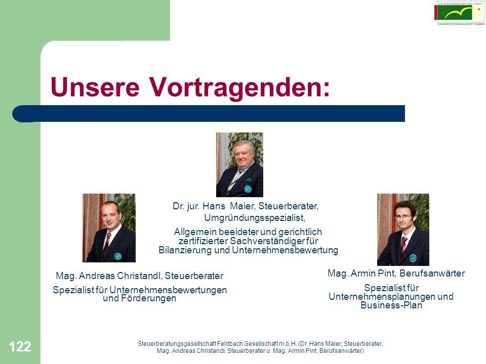 Unsere Vortragenden: Dr. jur. Hans Maier, Steuerberater,