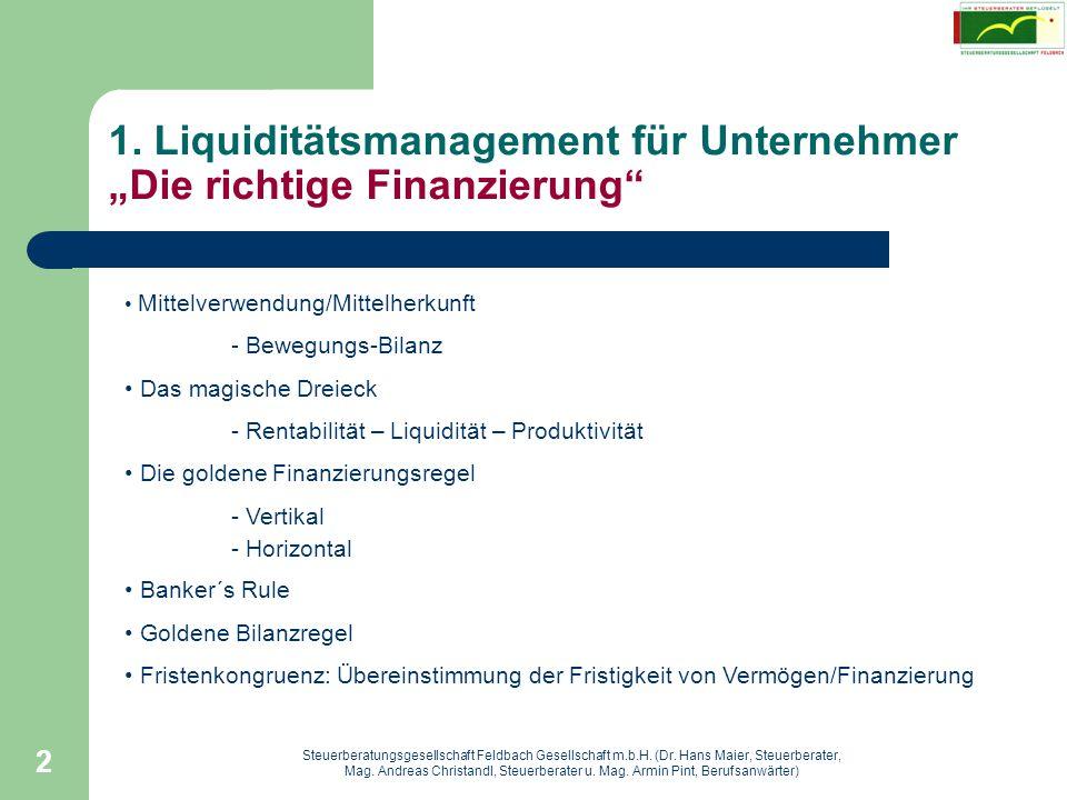 """1. Liquiditätsmanagement für Unternehmer """"Die richtige Finanzierung"""